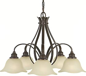 Feiss F2050/5GBZ Morningside Chandelier - Kitchen in Grecian Bronze finish with Cream Snow Glass Shade