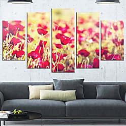 DESIGN ART Designart Fantastic View of Wild Poppy Large Flower Metal Wall Art 60x32-5 Panels Diamond Shape Red