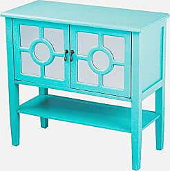 Heather Ann Creations Modern 2 Door Accent Console Cabinet with Circle Pane Mirror Insert and Bottom Shelf Turquoise