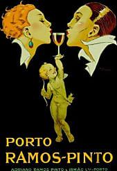 Buyartforless Buyartforless Porto Ramos Pinto French Vintage 36x24 Art Print Poster Wall Decor Drinking Cupids Love nector Advertising Champagne