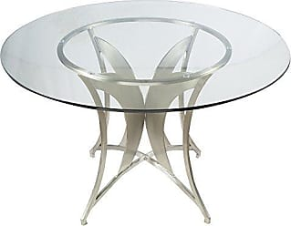 Armen Living LCDRDIB201TO Drake Dining Table with Clear Glass Top and Brushed Stainless Steel Finish