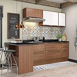 Multimóveis Cozinha Calábria 8 Peças 7 Portas Nogueira E Branco Multimóveis
