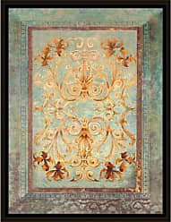 EAZL Regal Traditional Tapestry Rug Pattern Blue, Framed Canvas Art by Pied Piper Creative
