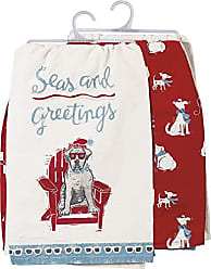 Primitives By Kathy Beach Holiday Dish Towel Set, Seas & Greetings