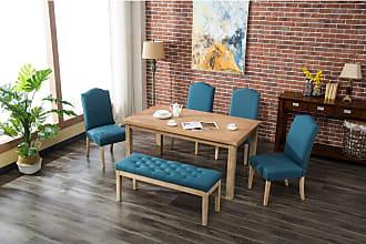 Round Hill Furniture Marseille 6 Piece Dining Table Set Charcoal - T171-C171CC-C171CC-CB171CC