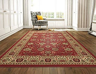Ottomanson Ottohome Collection Persian Style Rug Oriental Rugs, 82W x 910L with Non-Skid Rubber Backing, Red Area