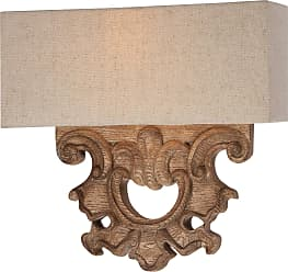 Minka Lavery 2 Light Wall Sconce In Classic Oak Patina Finish W/ Beige Fabric Shade