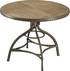 Homelegance Beacher 45 Adjustable Height Round Dining Table with Riveted Metal Banding Accent