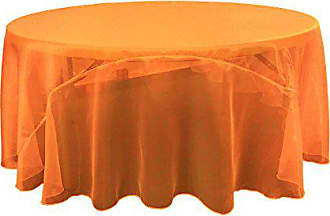LA Linen Sheer Mirror Organza Round Tablecloth 120-Inch, Orange, 120