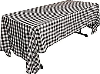 LA Linen Polyester Gingham Checkered Rectangular Tablecloth, 60 X 144,  White/Black