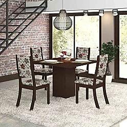 Viero Conjunto para Sala de Jantar Mesa e 4 Cadeiras Viero Dunia Choco/Passion