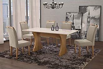 Siena Móveis Conjunto Sala de Jantar em Madeira Maciça Mesa Milão Curva e 6 Cadeiras Priscila Siena Móveis Imbuia Natural/Suede 67