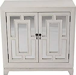 Heather Ann Creations Modern 2 Door Accent Wooden Cabinet with Hand Cut Grille and Mirror Backing Off White