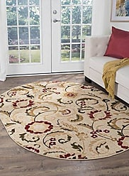 Tayse Wichita Transitional Floral Ivory Oval Area Rug, 5 x 7 Oval