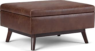 Simpli Home Owen Coffee Table Ottoman with Storage in Distressed Saddle Brown