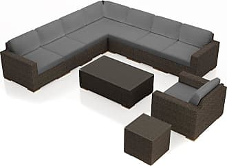 Harmonia Living Outdoor Harmonia Living Arden 10 Piece Club Chair Sectional Patio Conversation Set Charcoal - HL-ARD-CH-10CCSEC-CC
