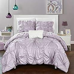 Chic Home 4 Piece Hamilton Floral Pinch Pleat Ruffled Designer Embellished King Duvet Cover Set Lavender