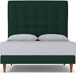 Apt2B Palmer Upholstered Bed - Leg Finish: Pecan - Size: Queen Size - Evergreen Velvet - Green with Tufted Headboard - Mid-Century Modern Bedroom Fur
