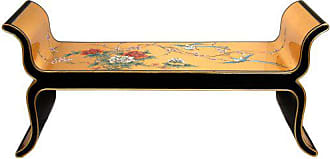 Oriental Furniture ORIENTAL Furniture Elegant Home Decor 48-Inch Chinese Gold Leaf Lacquered Bench with Hand Painted Birds and Flowers Design