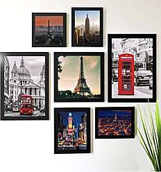 Los Quadros Kit de Quadros Decorativos 7 Peças Paris Londres Nova York Los Quadros Preto
