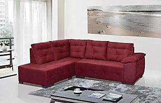 Cama inBox Sofá de Canto Monte Rei 5 Lugares Tecido Suede Marrom Vermelho - Moveis Marfim
