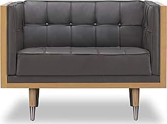 Kardiel Woodrow Midcentury Modern Box Chair, Grey Aniline Leather/Ash