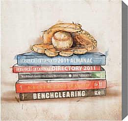 Hatcher & Ethan Baseball Books Canvas Wall Art - HE12184_43X43_CANV_XXHD_HE