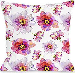 One Bella Casa 74496PL16 Pillow 16 x 16 x 3 Pink/Multicolored