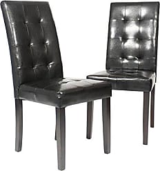 Round Hill Furniture Solid Wood Leatherette Padded Parson Stitches Design Chair, Black, Set of 2