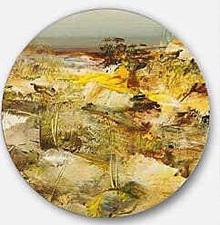 DESIGN ART Designart Yellow Stones Heavily Textured-Landscape Painting Large Metal Wall Art - Disc of 38 38x38-Disc of 38 inch