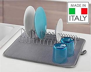 Argento Metallizzato 35x30x11 cm Scolapiatti con bacinella e vaschetta addizionale Metaltex Aquatex Plus