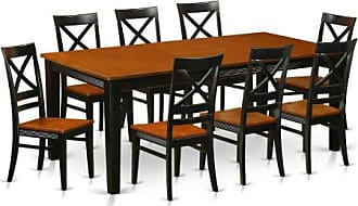 East West Furniture Quincy 9-Piece Cross-And-Ladder Dining Table Set