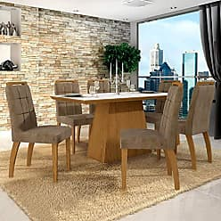 Leifer Conjunto Sala de Jantar Mesa Tampo de Vidro Branco 6 Cadeiras Málaga Leifer Canela/Branco/Capuccino