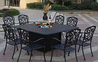 DARLEE Outdoor Darlee Florence 9 Piece Aluminum Square Fire Pit Patio Dining Set - 201020-9PC-60GW-AB