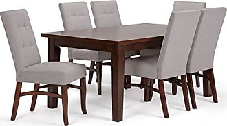 Simpli Home Simpli Home AXCDS7EZ-CLG Ezra Contemporary 7 Pc Dining Set with 6 Upholstered Dining Chairs and 66 inch Wide Table