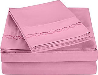 Superior Super Soft Light Weight, 100% Brushed Microfiber, King, Wrinkle Resistant, 4-Piece Sheet Set, Pink with Cloud Embroidery