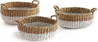 Napa Home & Garden Seagrass Shallow Basket with Handle, Natural/Whit