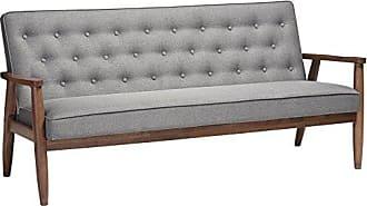 Wholesale Interiors Baxton Studio Sorrento Mid-Century Retro Modern Fabric Upholstered Wooden 3-Seater Sofa, Grey