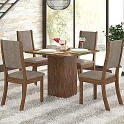 Viero Conjunto Sala de Jantar Mesa e 4 Cadeiras Caju Viero Avelã/Canela
