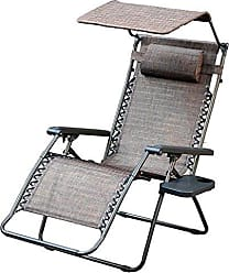 Jeco GC9 Oversized Zero Gravity Chair with with Sunshade and Drink Tray, Brown Mesh