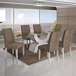 Leifer Conjunto Sala de Jantar Mesa Tampo Vidro 160cm 6 Cadeiras Olímpia New Leifer Branco/Animale Capuccino