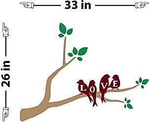 The Decal Guru Love Birds on a Branch Wall Decal (Light Brown & Burgundy, 26 (H) X 33 (W))