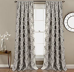 Triangle Home Fashions Lush Decor Ruffle Diamond Curtains Textured Window Panel Set for Living, Dining Room, Bedroom (Pair), 84 x 54, Gray