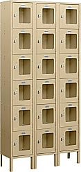 Salsbury Industries Assembled 6-Tier Box Style See-Through Metal Locker with Three Wide Storage Units, 6-Feet High by 15-Inch Deep, Tan