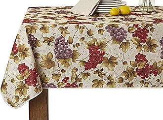 Violet Linen European Vinyard Grapes Printed Design Tablecloth 60 X 120 Beige