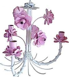 Libertas Rosas Artesanato Lustre Quarto de Menina Artesanal com Flores Lindo e Simples 03 Bocas