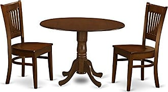 East West Furniture DLVA3-ESP-W 3 Piece Dublin Dining Table with 2 Drop Leaf 9 and Two Wood Seat Chairs in Espresso