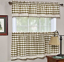Ben&Jonah Ben & Jonah Ben&Jonah Buffalo Check Window Curtain Tier Pair-58x36-Taupe Collection, Multicolor