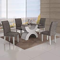 Leifer Conjunto Sala de Jantar Mesa Tampo Vidro 120cm 4 Cadeiras Olímpia New Leifer Branco/Linho Cinza