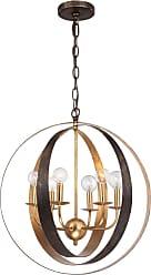 Crystorama Luna 6-Light Sphere Pendant in English Bronze + Antique Gold